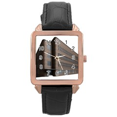 Office Building Villa Rendering Rose Gold Leather Watch