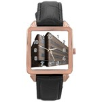Office Building Villa Rendering Rose Gold Leather Watch  Front