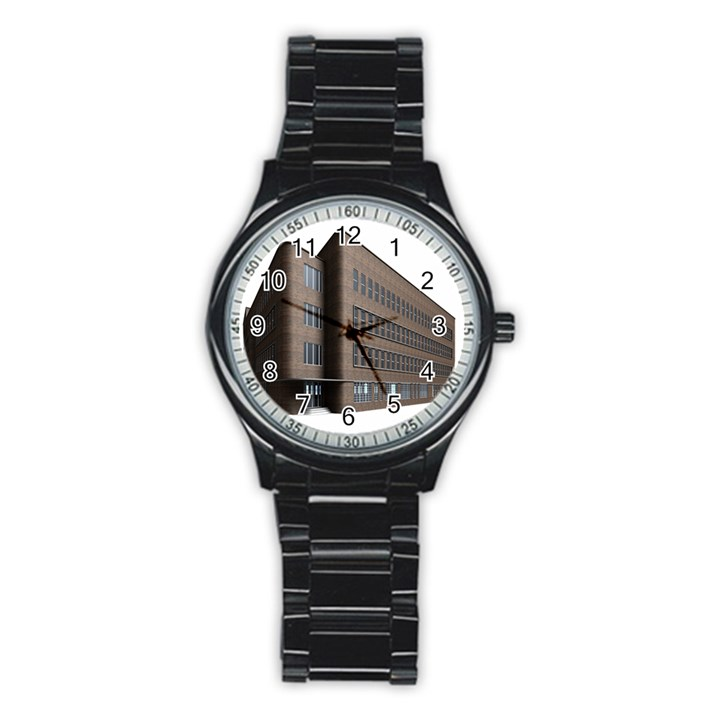 Office Building Villa Rendering Stainless Steel Round Watch