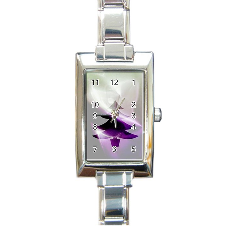 Purple Christmas Tree Rectangle Italian Charm Watch
