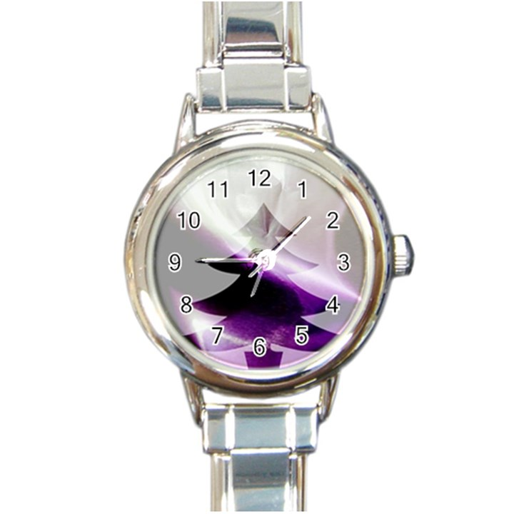 Purple Christmas Tree Round Italian Charm Watch