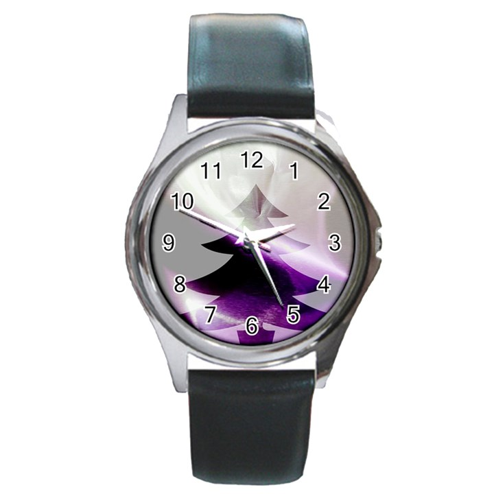 Purple Christmas Tree Round Metal Watch