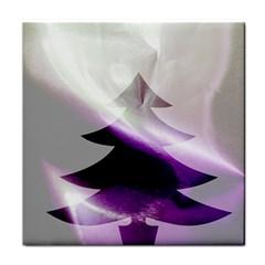Purple Christmas Tree Tile Coasters
