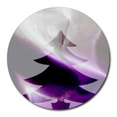 Purple Christmas Tree Round Mousepads