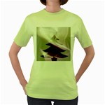 Purple Christmas Tree Women s Green T-Shirt Front