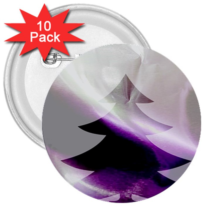 Purple Christmas Tree 3  Buttons (10 pack)
