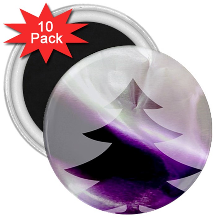Purple Christmas Tree 3  Magnets (10 pack)