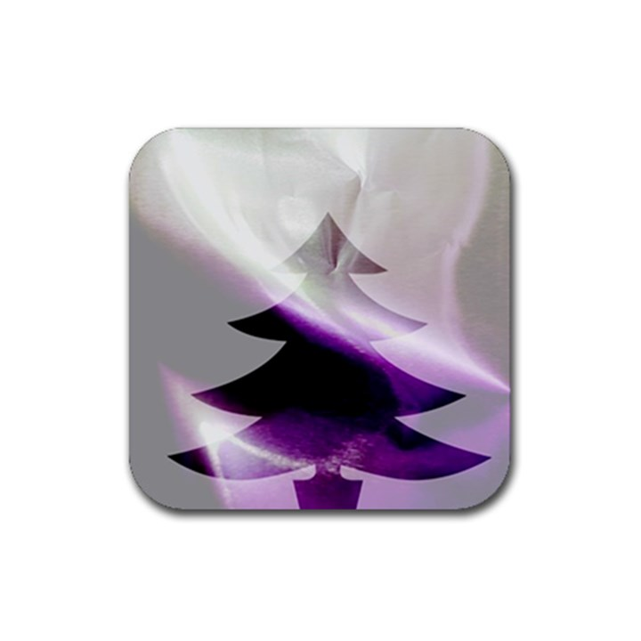 Purple Christmas Tree Rubber Coaster (Square)