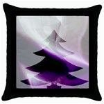 Purple Christmas Tree Throw Pillow Case (Black) Front