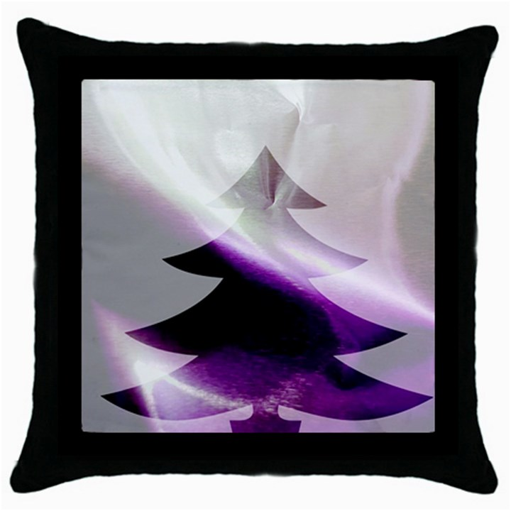 Purple Christmas Tree Throw Pillow Case (Black)