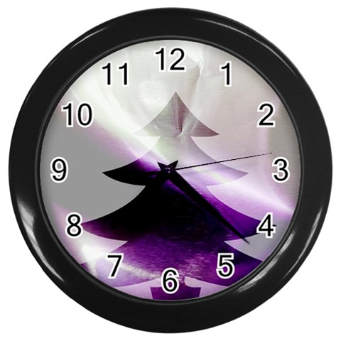 Purple Christmas Tree Wall Clocks (Black)