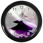 Purple Christmas Tree Wall Clocks (Black) Front