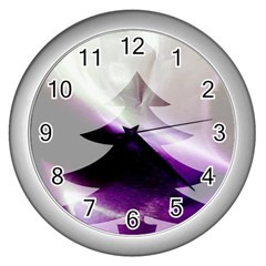 Purple Christmas Tree Wall Clocks (silver)