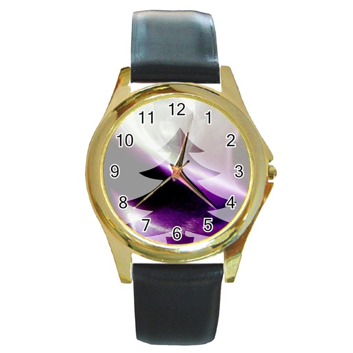 Purple Christmas Tree Round Gold Metal Watch