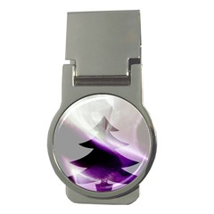 Purple Christmas Tree Money Clips (round)