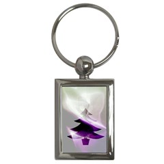 Purple Christmas Tree Key Chains (Rectangle)