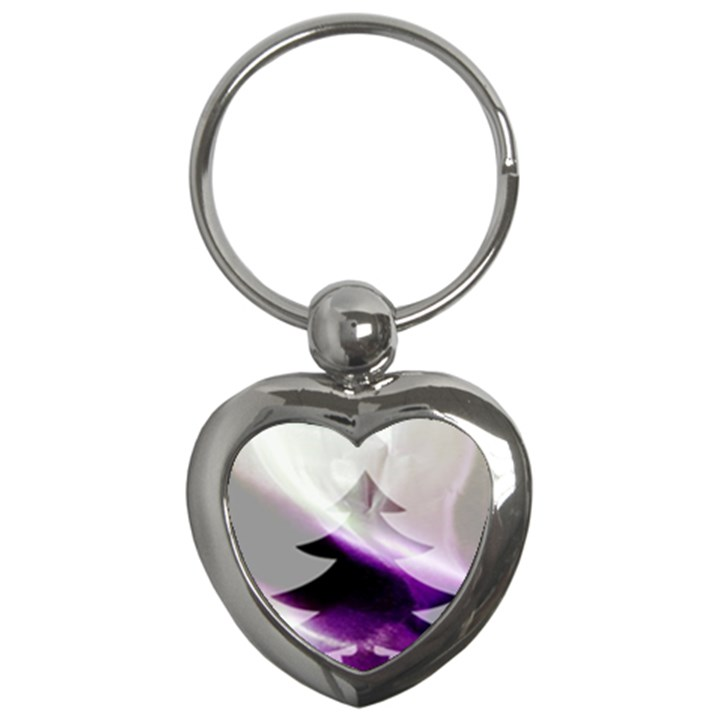 Purple Christmas Tree Key Chains (Heart)