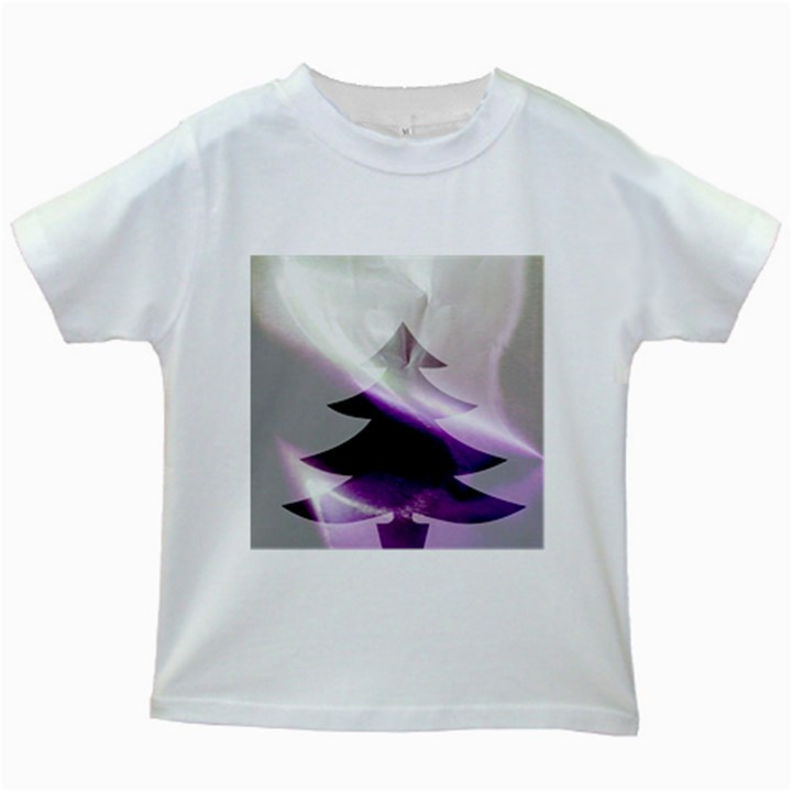 Purple Christmas Tree Kids White T-Shirts