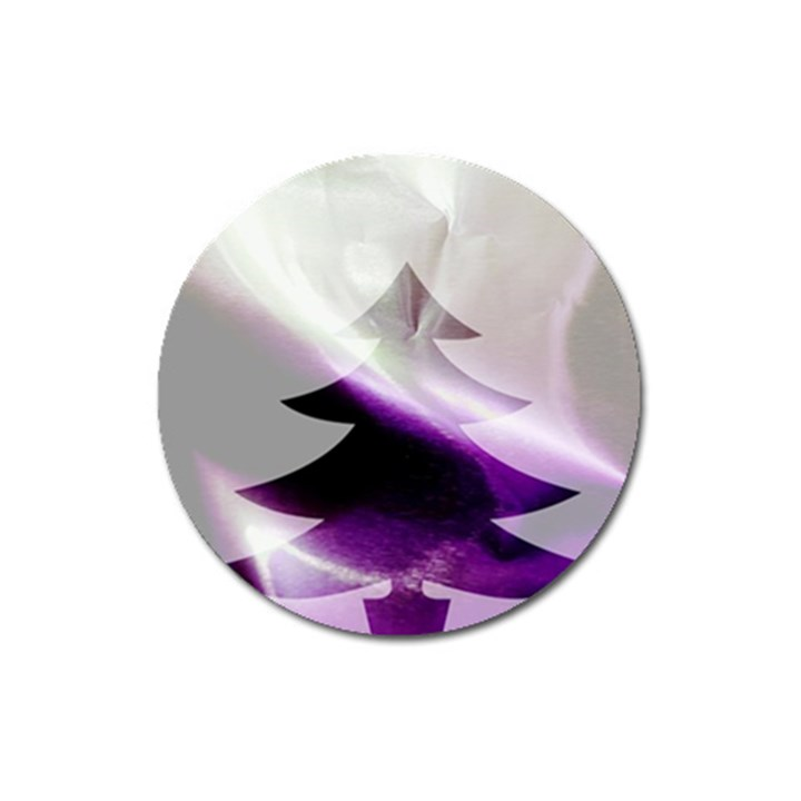 Purple Christmas Tree Magnet 3  (Round)