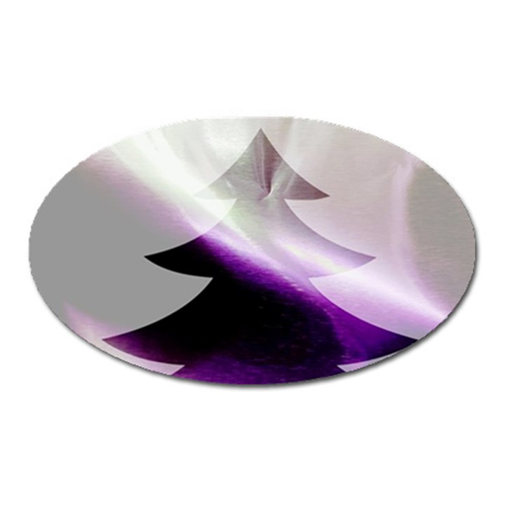 Purple Christmas Tree Oval Magnet