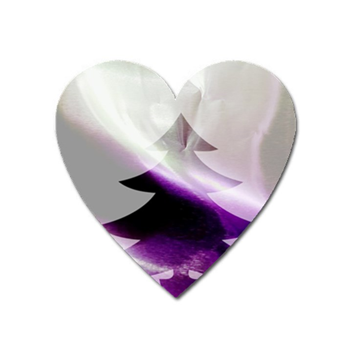 Purple Christmas Tree Heart Magnet