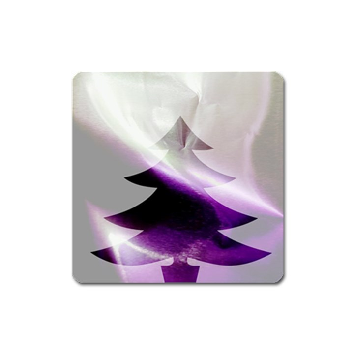 Purple Christmas Tree Square Magnet