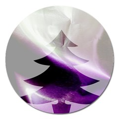 Purple Christmas Tree Magnet 5  (round)