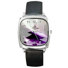 Purple Christmas Tree Square Metal Watch