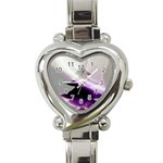Purple Christmas Tree Heart Italian Charm Watch Front
