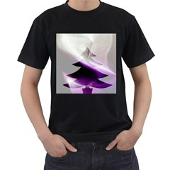 Purple Christmas Tree Men s T-Shirt (Black) (Two Sided)