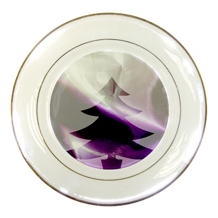 Purple Christmas Tree Porcelain Plates