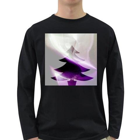 Purple Christmas Tree Long Sleeve Dark T-Shirts
