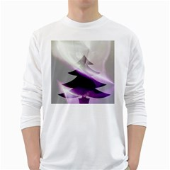 Purple Christmas Tree White Long Sleeve T Shirts
