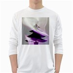 Purple Christmas Tree White Long Sleeve T-Shirts Front