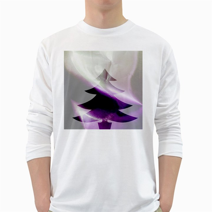 Purple Christmas Tree White Long Sleeve T-Shirts