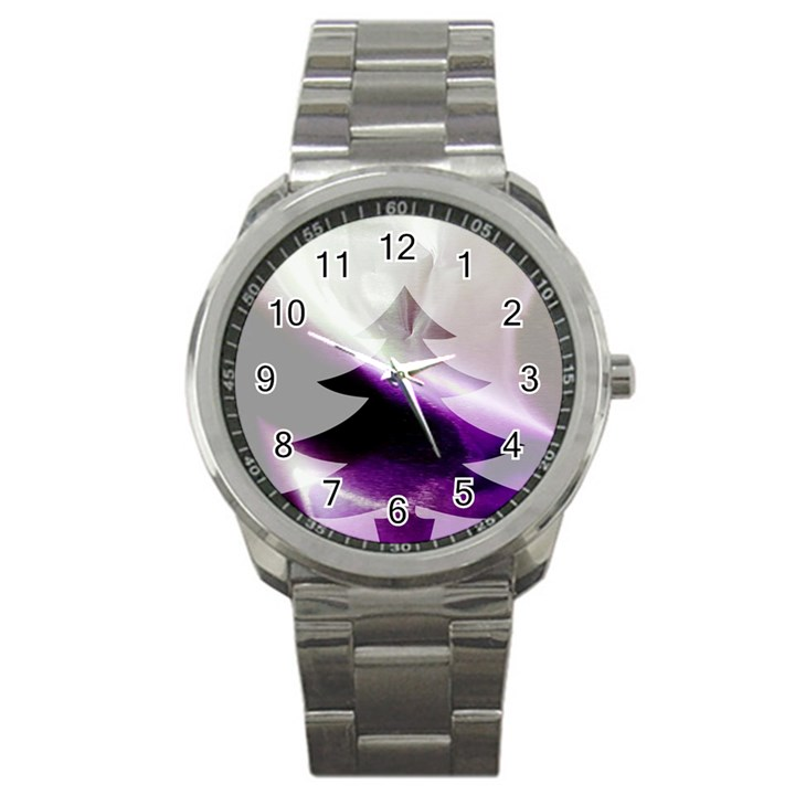 Purple Christmas Tree Sport Metal Watch