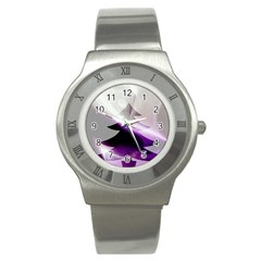 Purple Christmas Tree Stainless Steel Watch
