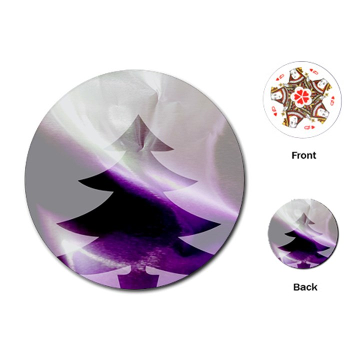 Purple Christmas Tree Playing Cards (Round)
