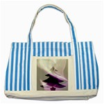Purple Christmas Tree Striped Blue Tote Bag Front