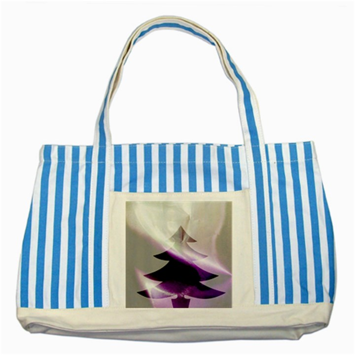 Purple Christmas Tree Striped Blue Tote Bag