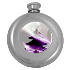 Purple Christmas Tree Round Hip Flask (5 oz)