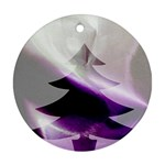 Purple Christmas Tree Round Ornament (Two Sides)  Back