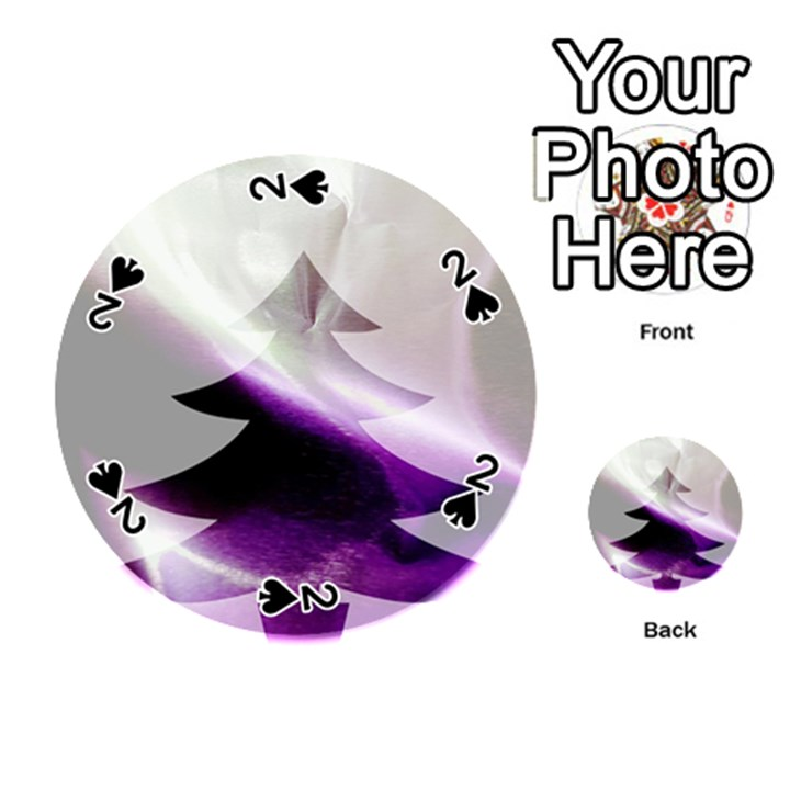 Purple Christmas Tree Playing Cards 54 (Round)
