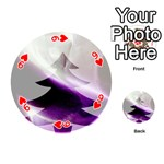 Purple Christmas Tree Playing Cards 54 (Round)  Front - Heart9