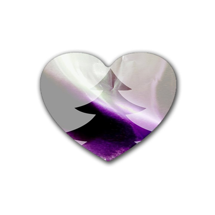 Purple Christmas Tree Rubber Coaster (Heart)