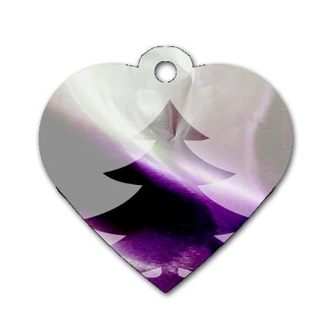 Purple Christmas Tree Dog Tag Heart (One Side)