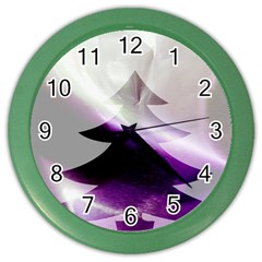 Purple Christmas Tree Color Wall Clocks