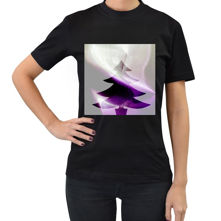 Purple Christmas Tree Women s T-Shirt (Black)