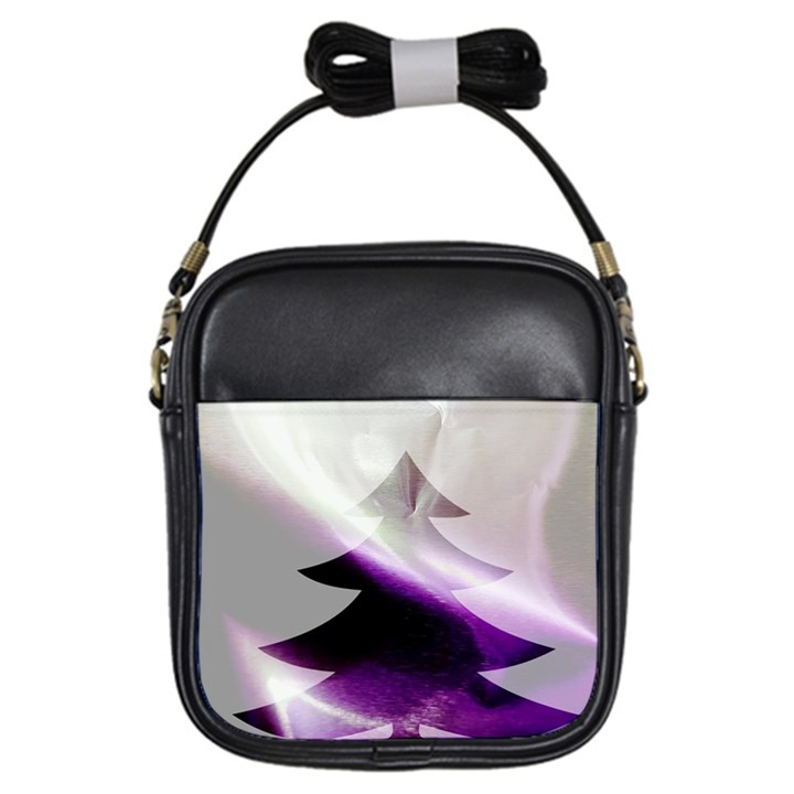 Purple Christmas Tree Girls Sling Bags