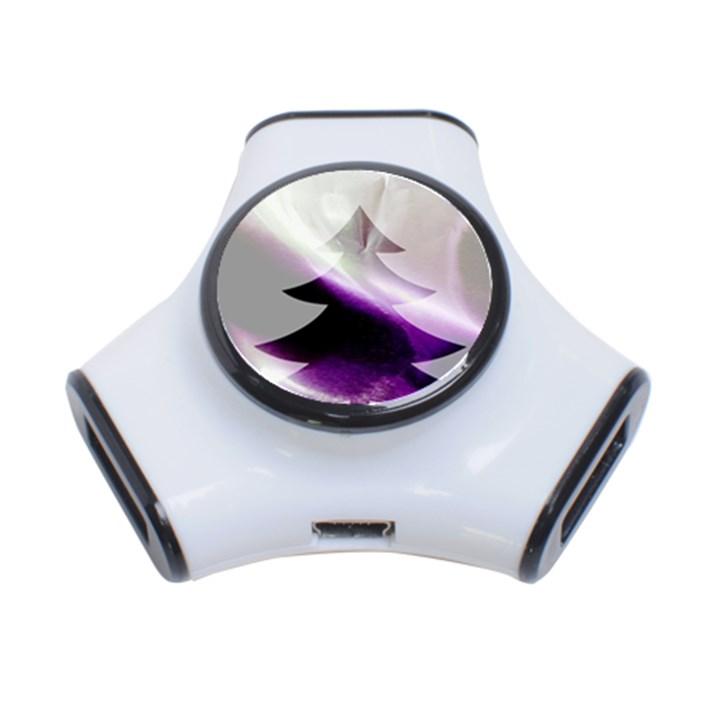 Purple Christmas Tree 3-Port USB Hub